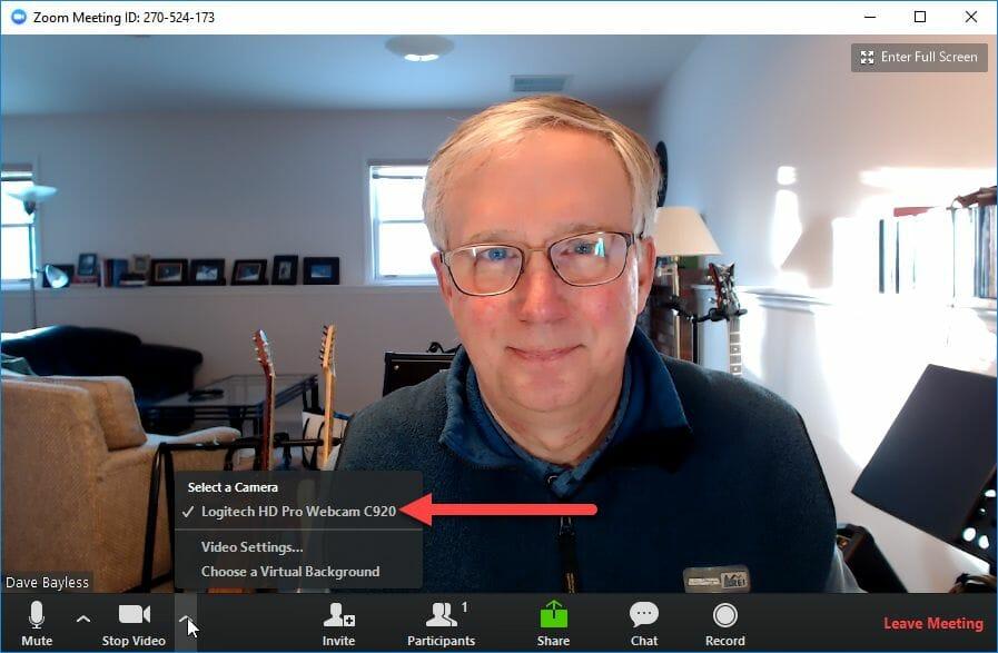 Select Zoom Webcam